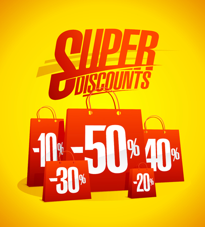 Super discounts vector sale banner with many red shopping bags, clearance poster
