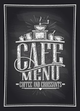 カフェ メニュー コーヒーとクロワッサン黒板ベクトル イラスト コーヒー刃物、ビンテージ スタイルで