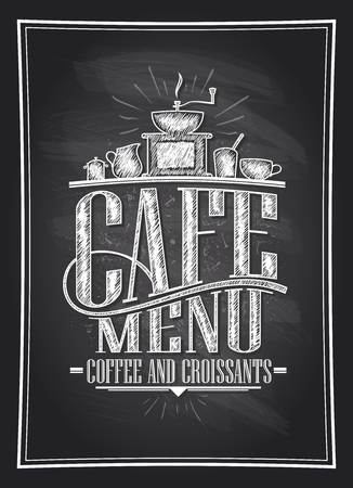 Cafe menu coffee and croissants chalkboard vector illustration with coffee cutlery, vintage style
