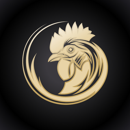 Golden logo symbol with rooster profile head