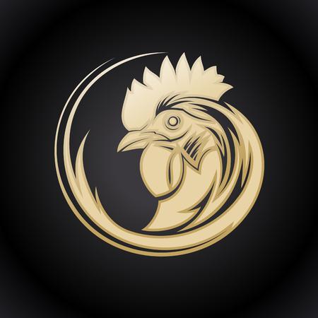 Goldenes Logo-Symbol mit Hahnprofilkopf