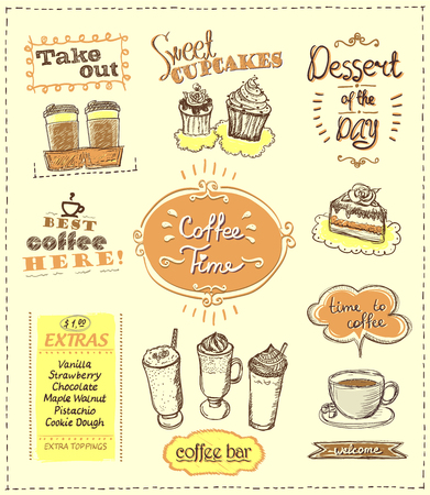 Coffee time designs set for cafe or restaurant. Best coffee, desserts, extras, take out concepts collection, vector sketch illustration