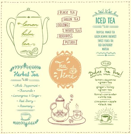 Tea menu list designs set. Herbal tea, iced and detox tea, vector hand drawn illustration
