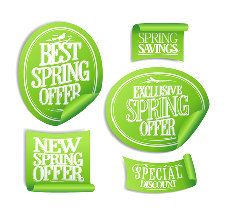 Exclusive spring offer, new and best offer, spring savings  stickers set, special discounts