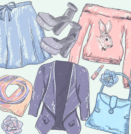 snood: Fashion vector sketch set with hand drawn graphic jacket, skirt, bag, lipstick, shoes and sweatshirt with rabbit print. Hidden under clipping mask Illustration