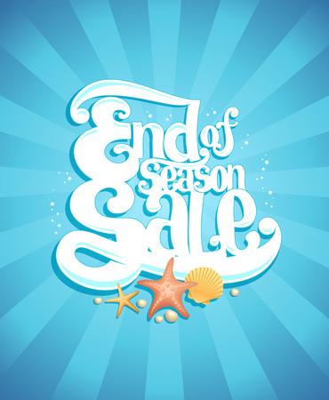Einde van het seizoen verkoop poster, vector reclame illustratie, mariene stijl Stock Illustratie