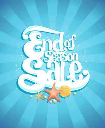 End of season sale poster, vector advertising illustration, marine style