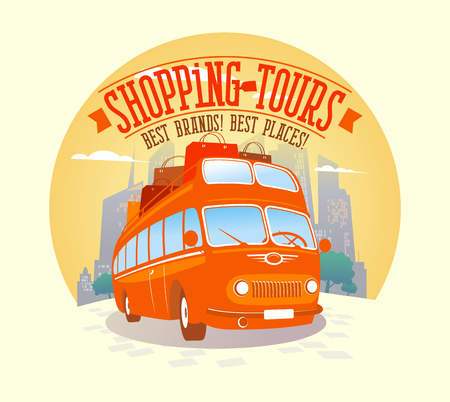 Fashion shopping tours vector poster. Red riding double-decker bus with many paper bags on it, against evening city background. Illusztráció