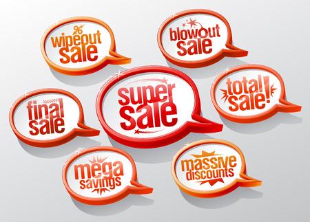 Super sale speech bubbles signs set. Super and mega savings, massive discounts, final and total sale symbols