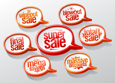 Super sale speech bubbles signs set. Super and mega savings, massive discounts, final and total sale symbols