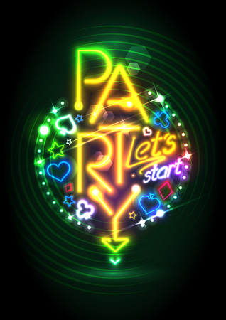 golden symbols: Golden neon lights party design with poker casino symbols Illustration