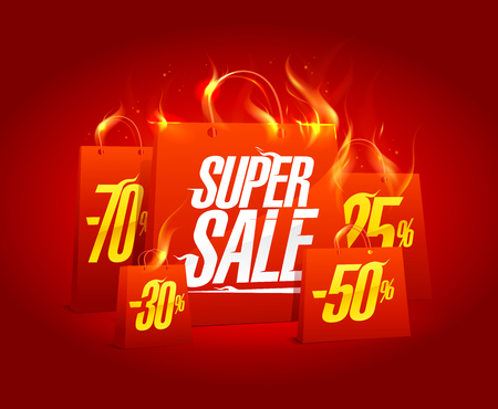 Super sale poster banner with red burning paper shopping bags, clearance coupon vector design