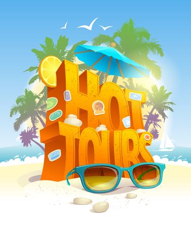 Hot tours vector poster, 3d text against tropical beach and palms. Touristic advertising concept