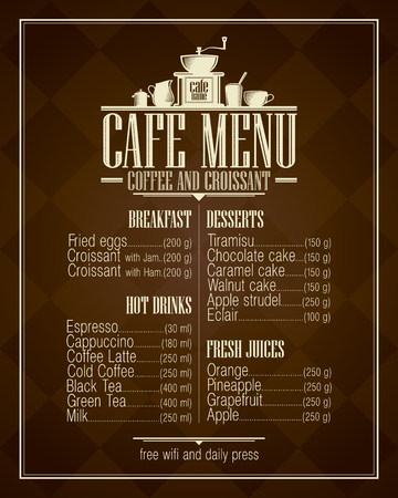 main dishes: Retro style cafe menu list design with copy space for dishes name