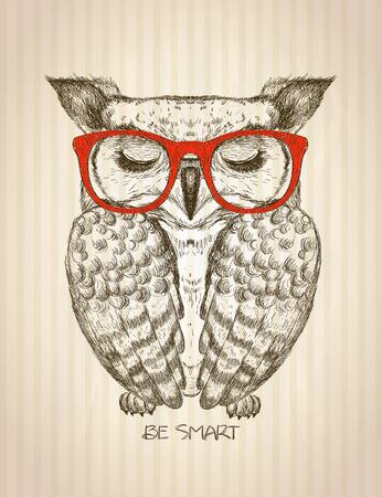 힙합 올빼미와 빈티지 그래픽 포스터 오래 된 종이 스트라이프 배경에 빨간색 안경을 입은 스마트 견적 카드 수 손으로 그려진 된 벡터 일러스트 레이