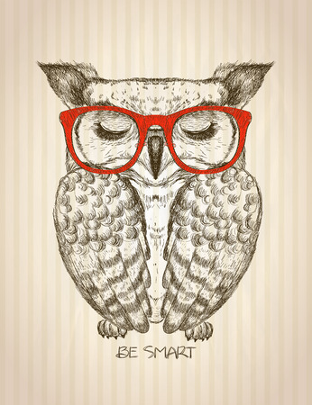 Vintage graphic poster with hipster owl dressed in red glasses, against old paper striped backdrop, be smart quote card, hand drawn vector illustration Ilustracja