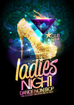 Dames nacht vectorillustratie met gouden kristallen schoenen met hoge hakken en brandende cocktail.