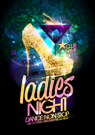 Ladies night vector illustration with gold crystals high heeled shoes and burning cocktail.