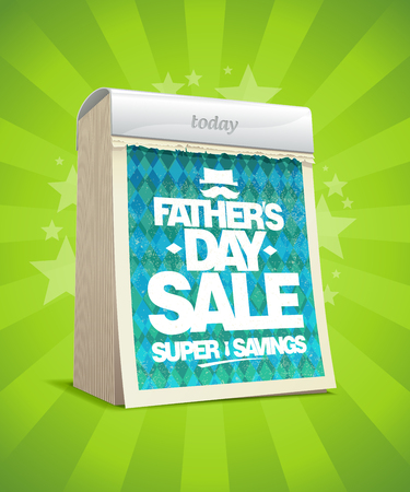 Father`s day sale vector poster with tear-off calendar, holiday super savings Stok Fotoğraf - 80272583