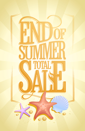 End of summer total sale vector poster, vintage style text design Çizim