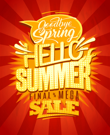 Hello summer vector retro style poster. Good bye spring, final spring sale banner