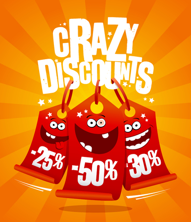 Crazy discounts vector poster concept with madness smiling price tags -25%,-50%,-30%