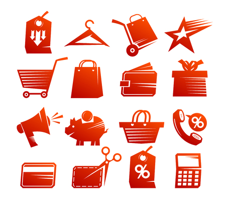 mega phone: Shopping icons vector set, red sale symbols collection vintage style