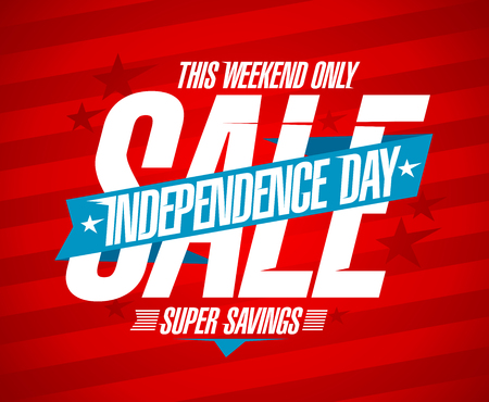Independence day sale vector design concept, super savings Illustration