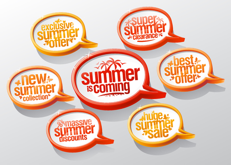 Summer is coming sale stickers set, best and exclusive offer, new collection, massive discounts, etc.