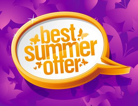Best summer offer speech bubble vector banner concept