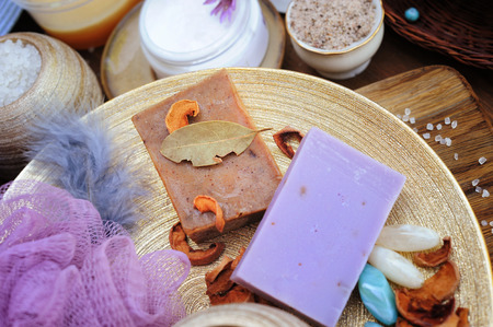 Fruit and lavender handmade artisan soap, natural cosmetics concept