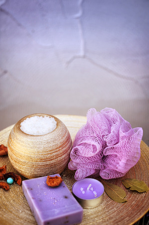 Home spa set - lavender handmade artisan soap, wisp of bast and bath salt. Copy space for text