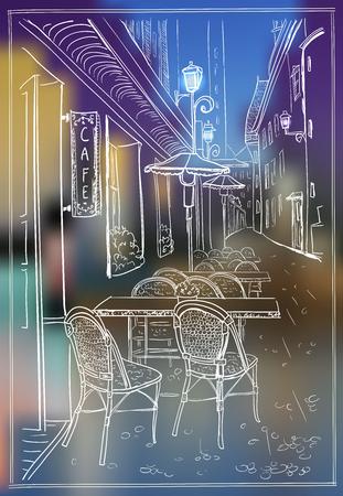 Oude straatkoffie in avondstad, hand getrokken illustratie