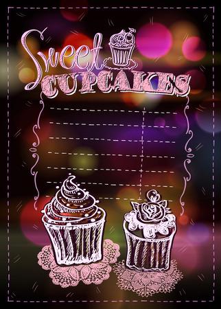 Cupcakes menu list design concept, copy space for text, hand drawn vintage style Иллюстрация