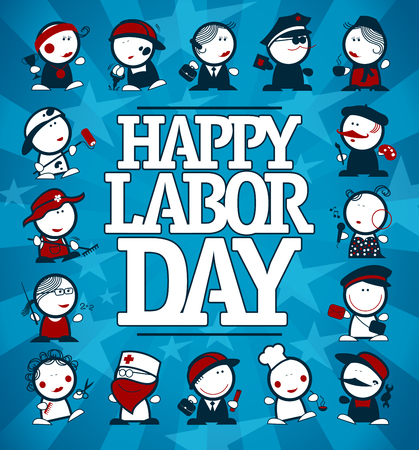 Happy Labor day card design with many figures of different professions
