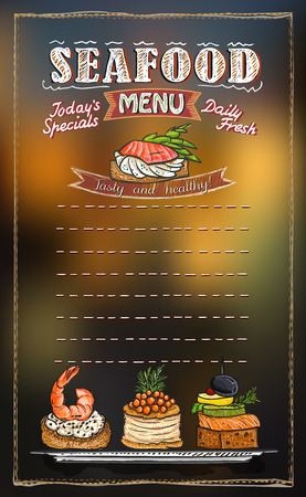 Seafood menu list with copy space for text, assorted fish canapes hand drawn illustration