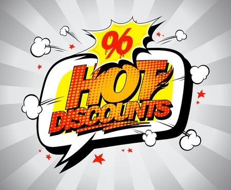 online specials: Hot discounts sale banner, pop-art style with speech bubble Illustration