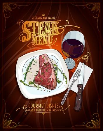 ステーキ メニュー ポスター デザイン、手描きグラフィック イラスト、牛フィレのステーキ、ワイン、ビンテージ スタイルのガラス