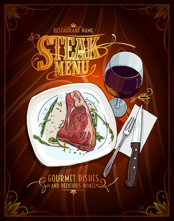 Steak menu poster design, hand drawn graphic illustration of a fillet mignon steak and glass of wine, vintage style