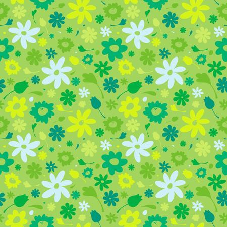 ベクトルの背景の花、夏の緑シームレス パターン  イラスト・ベクター素材
