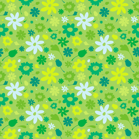 Summer green seamless pattern with flowers, vector background Illustration