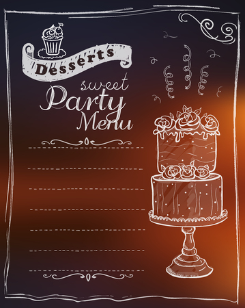 Sweet party menu list, vector design with copy space for text Illustration