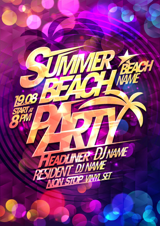 Summer beach party typographical poster design with multicolored  bokeh lights backdrop Illustration