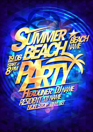 Beach summer party vector poster design concept