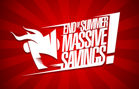 End of summer massive savings, sale poster concept Illustration