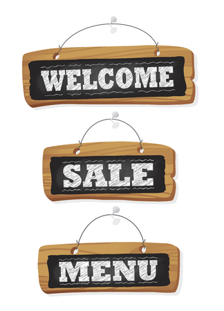 Blackboards set hanging in the wall - welcome, sale and menu chalkboard signs, isolated on white
