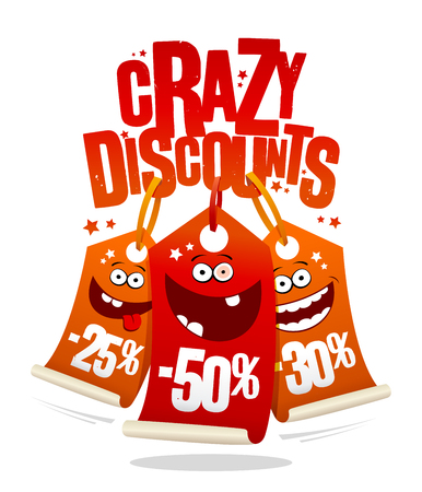 Crazy discounts sale banner in joyful smiling price tags.
