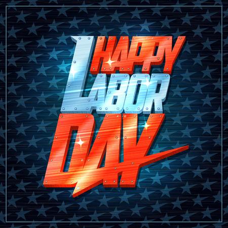 Happy labor day card design.
