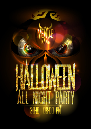 Halloween party poster concept with angry pumpkin head copy space for text. Illustration