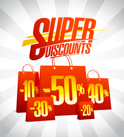 Super discounts advertising design with red paper shopping bags, sale concept. Illustration